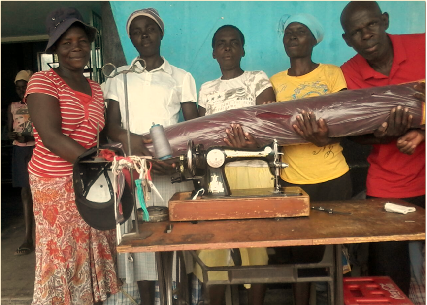 Women Ecstatic To Receive Sewing Material