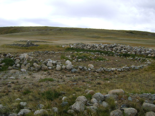 ancient stone constructions on the Ukok Plateau