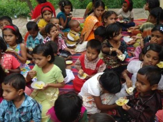 Children enjoying snacks