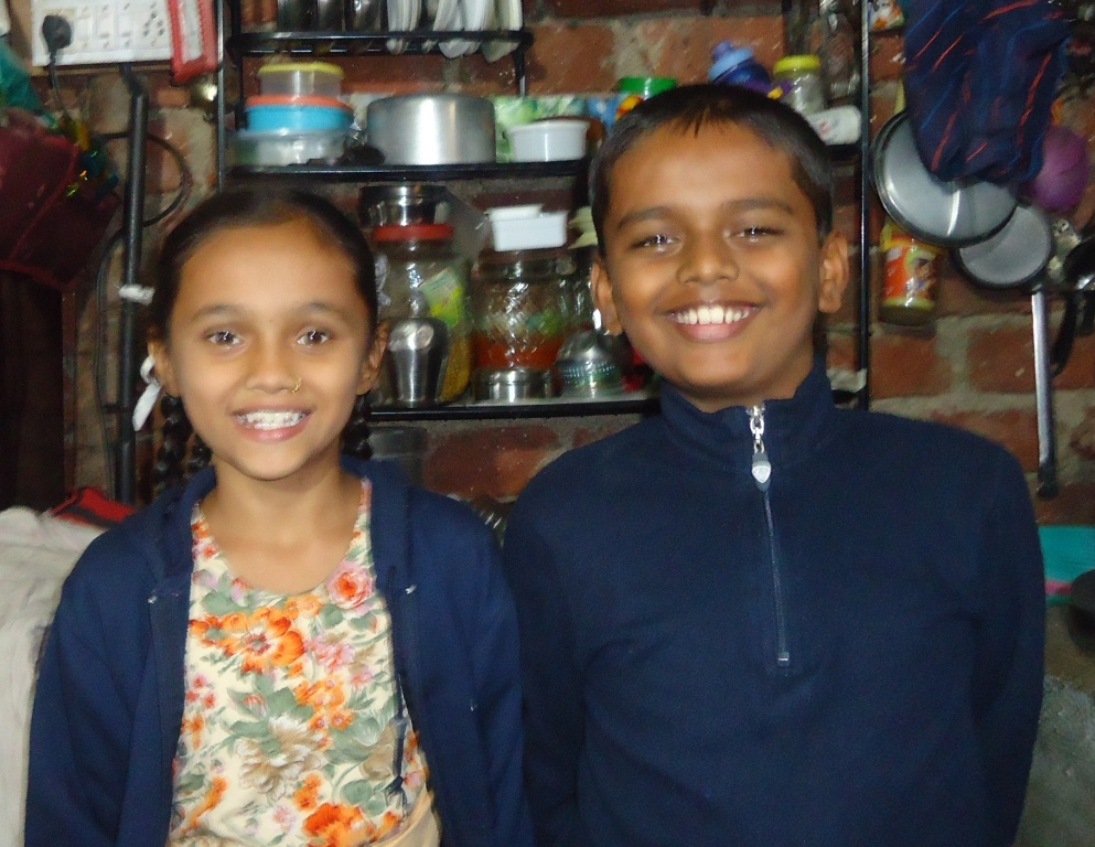 Asha with her brother