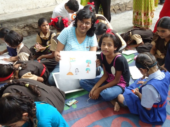 A volunteer with children