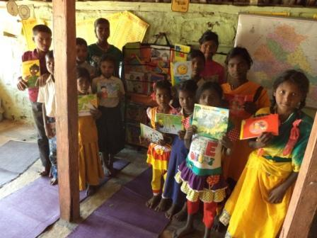 Library in a kit for tribal kids at Kasurdi