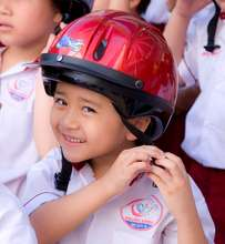 A student in his new helmet