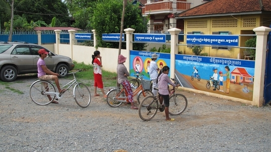 Road safety mural at a program school in Cambodia
