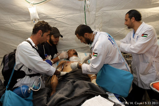 Doctors treat patient on boat hospital to Benghazi