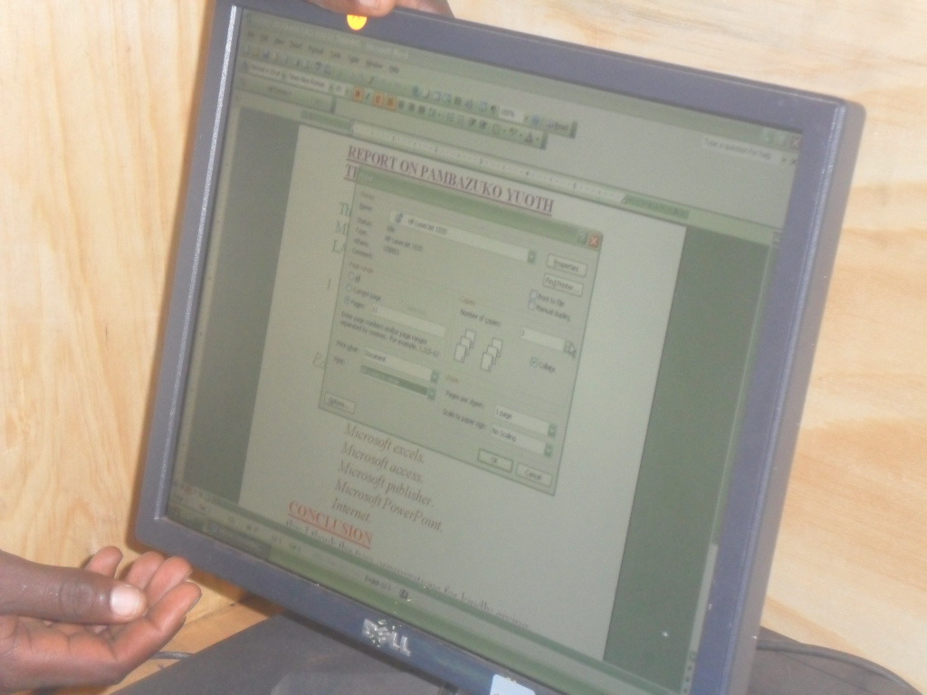 computer at the  TYSA resource centre