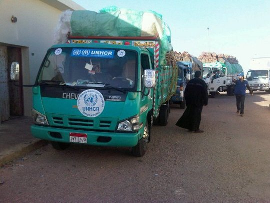 UNHCR Aid Truck Arriving in Egypt