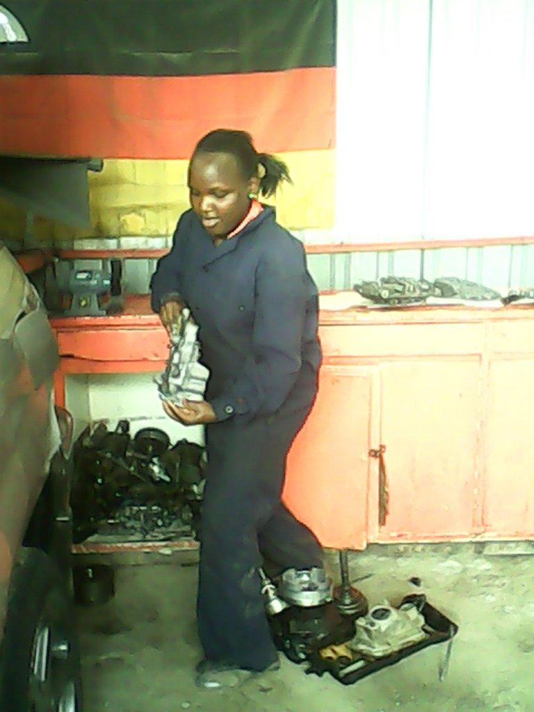 Beth at auto workshop