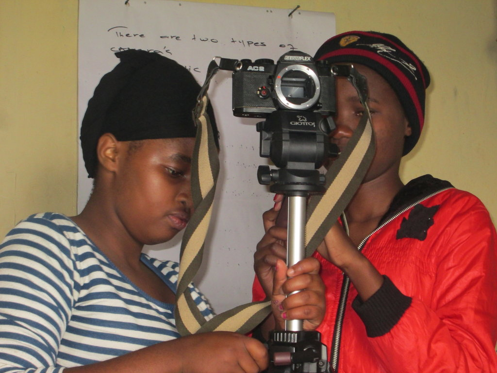 Girls learning photography