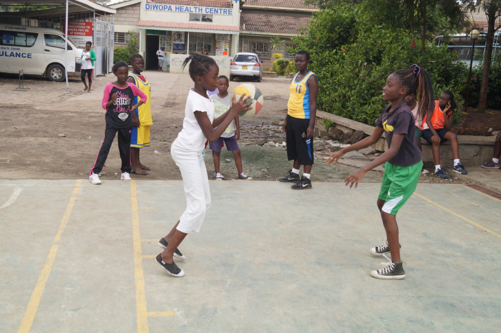 Girls in basketball camp