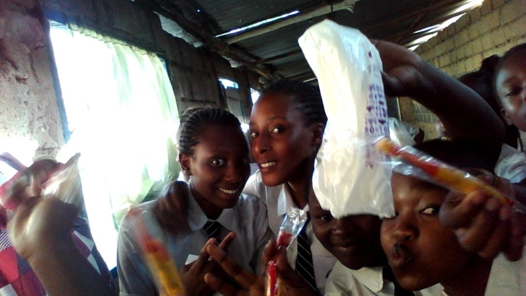 happy to receive tooth brushes and sanitary pads