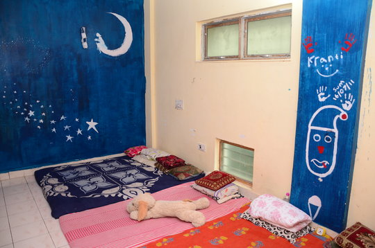 Blue bed room.