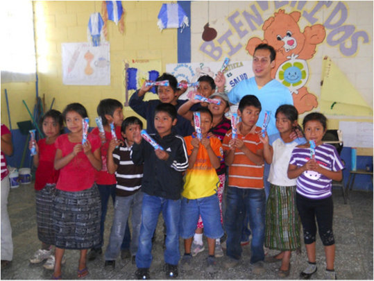 Each student received a toothbrush and toothpaste