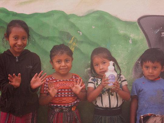 Children with new Baobab soap in Tzanchaj