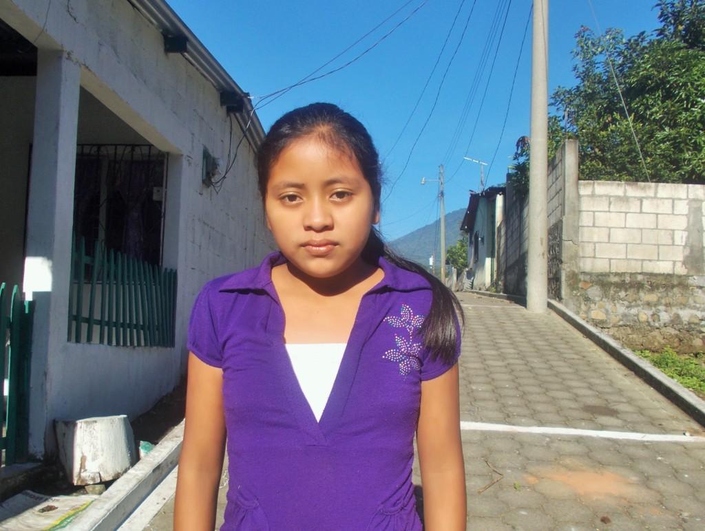 Loida on the road to Nueva Vida School