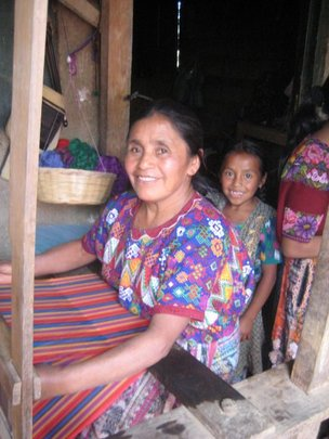 Vicenta is always happy when she is weaving.