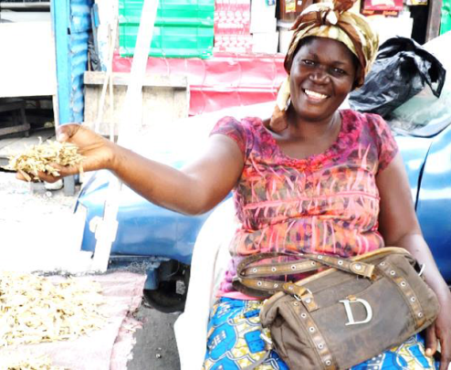 Brigite at her market stall in Kinshasa