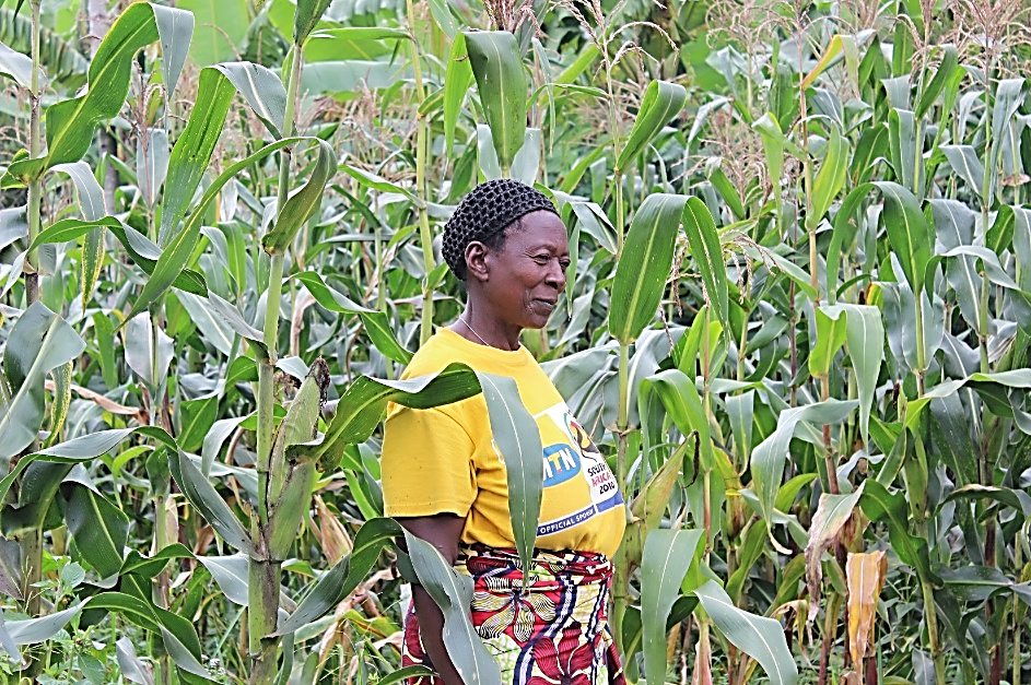 Marie Rose on her farm in Rwanda.