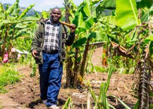 Samuel on his farm in Rwanda