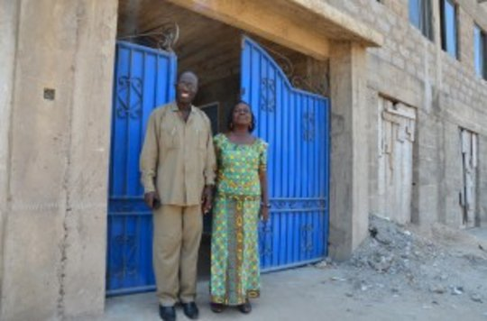 Comfort and her husband in front of Ahobrase