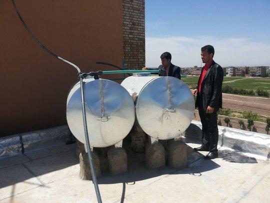 Water Storage Tanks on Top of the School