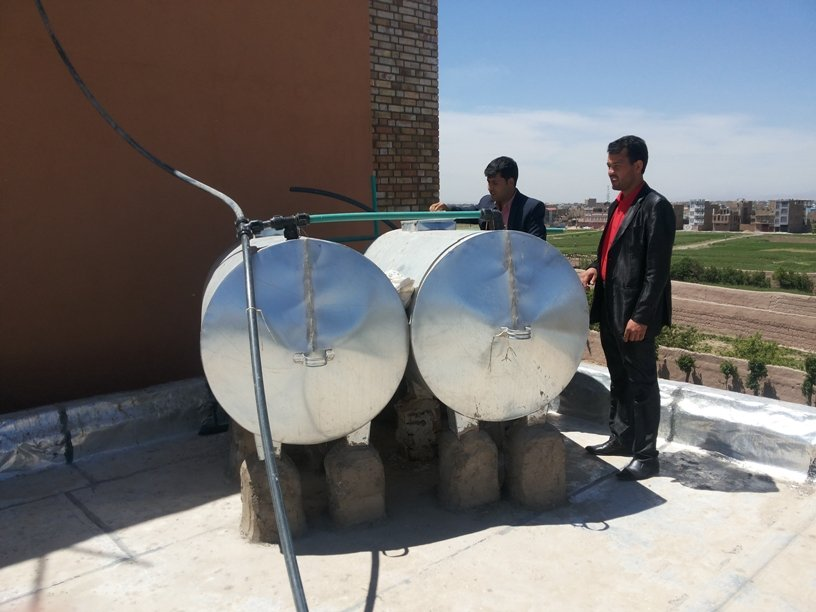 Water Storage Tanks on Top of the School