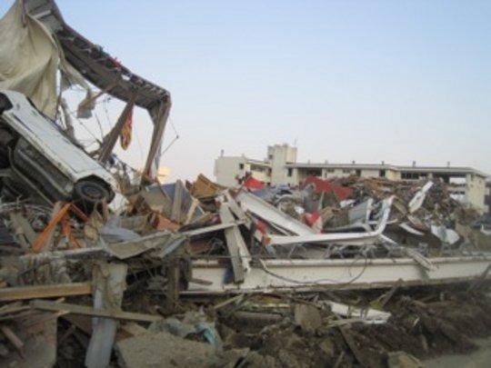 Piled up debris at Rikuzen-Takata.