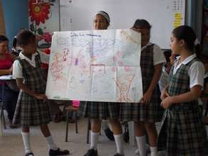 Girls presenting their Children´s Land vission