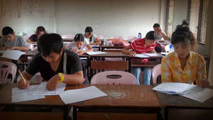 EPOP stundents sit the TOEFL ITP exam