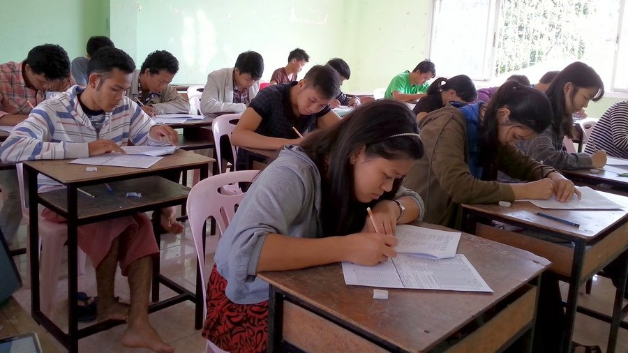 EPOP students sit an EPOP English Test