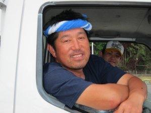 Happy octopus catcher in Minamisanriku