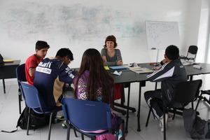 Bronwyn Treacy working her students