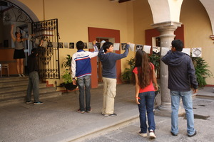 Students from 5 de Mayo h.s. installing their work