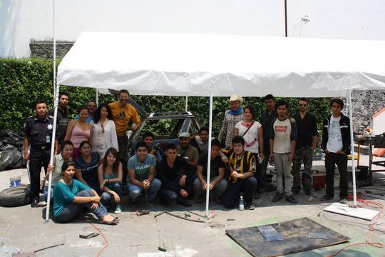 Martin and the student artists at Bauhaus Puebla