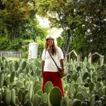 Resident Artist Sheetul Goorah at a Cochineal Farm