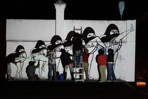 """Night projection of """"Muerte Express"""""""