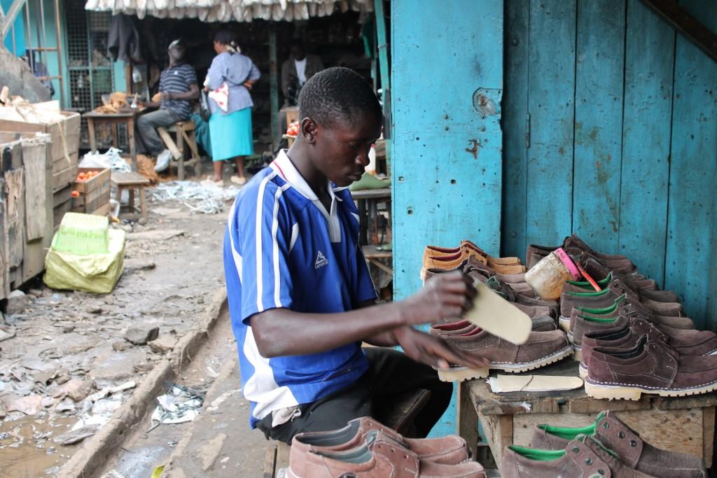 Training to make shoes at Nyeri market