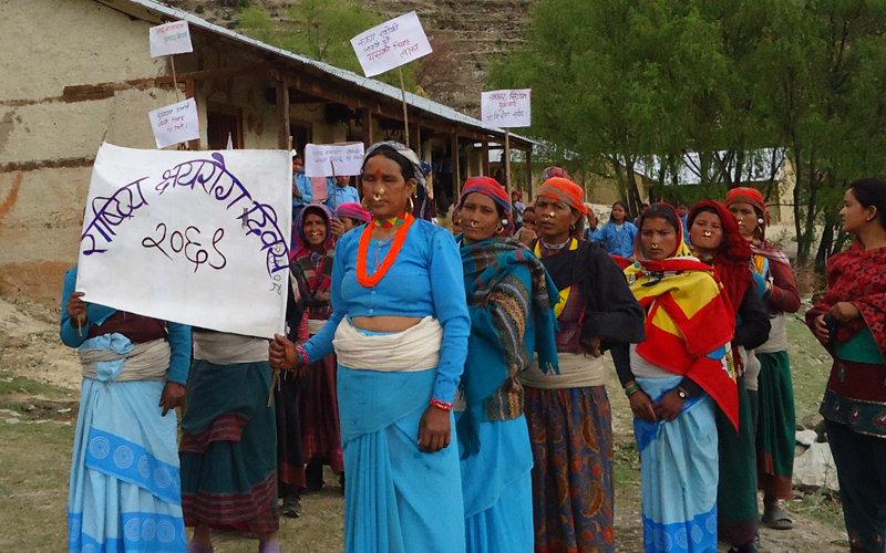 FCHVs celebrating World TB day in Maila