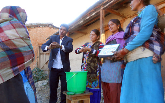 Hand washing campaign, Maila village
