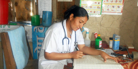 Health staff in clinic of Maila village