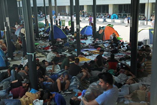 Refugees at a Budapest train station.