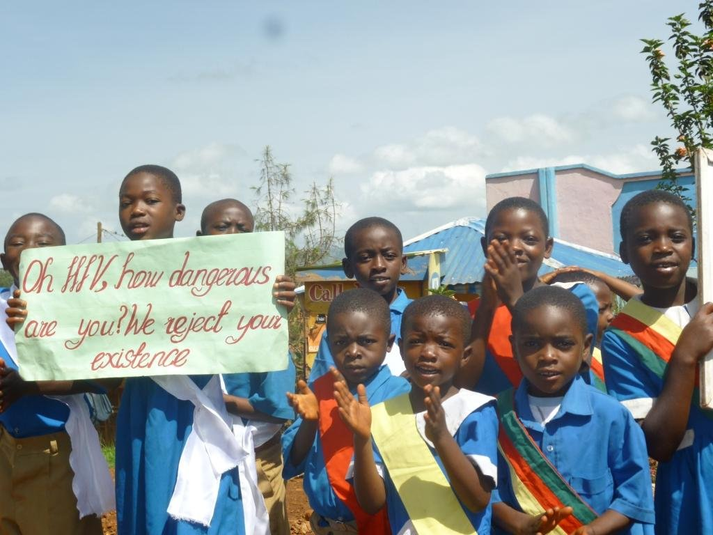 Found in the remote village of Kifem in the North West region of Cameroon,these  pupils presenting messages on HIV and Malaria Prevention to their friends and parents.