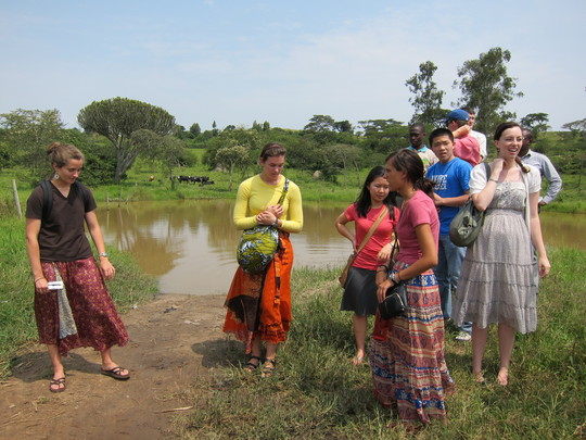 The intern team visiting a water source