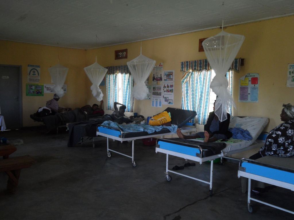 Mosquito nets at health center installed by PHP.