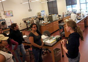 Exploring a biology lab at Mills College
