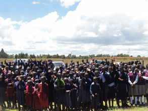 School children celebrate the event