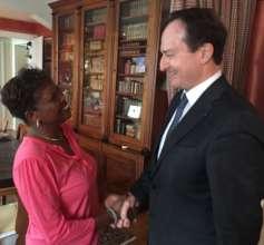 S.G. Christian Roth greeting Dr. Dinah Mwinzi