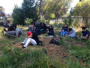 Students practicing mindfulness at the farm