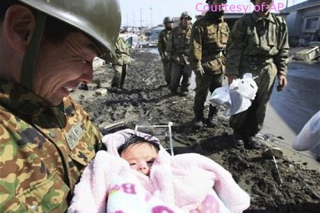 Baby Girl Rescued from Tsunami Rubble