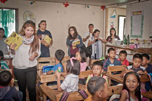 Rock-Ed distributing books in Baguio